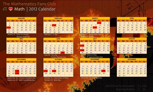 i Love Math 2012 Calendar